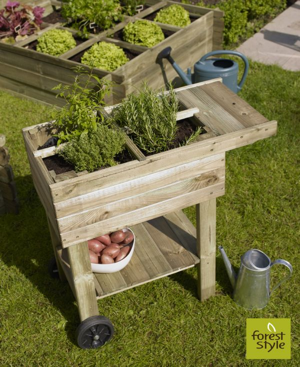 Mesa de cultivo para huerto urbano de madera con ruedas de - Mesa para huerto urbano ...
