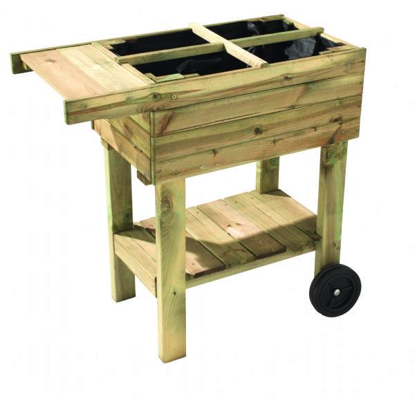 Mesa de cultivo para huerto urbano de madera con ruedas de - Ruedas para mesa ...